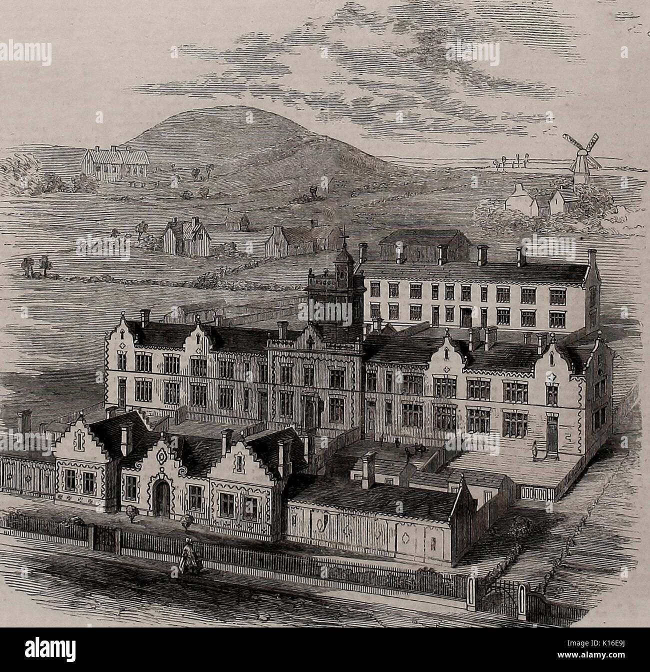 Birdseye view of Scarborough New Workhouse, 1859 - Stock Image