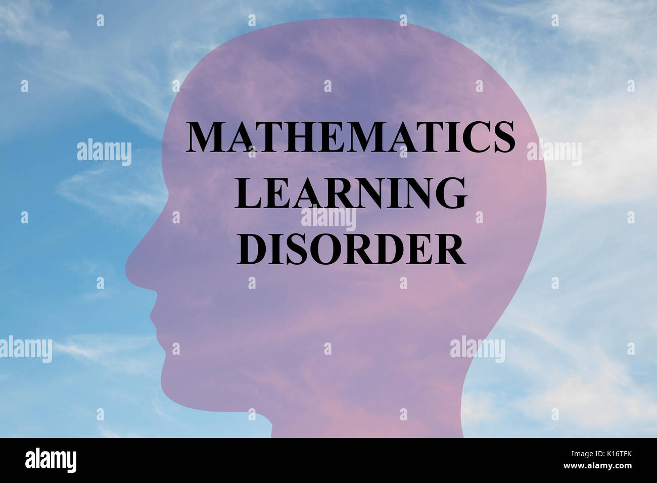Render illustration of 'MATHEMATICS LEARNING DISORDER' title on head silhouette, with cloudy sky as a background. - Stock Image