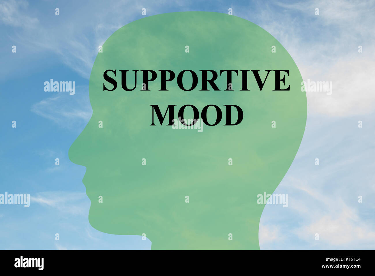 Render illustration of 'SUPPORTIVE MOOD' script on head silhouette, with cloudy sky as a background. - Stock Image