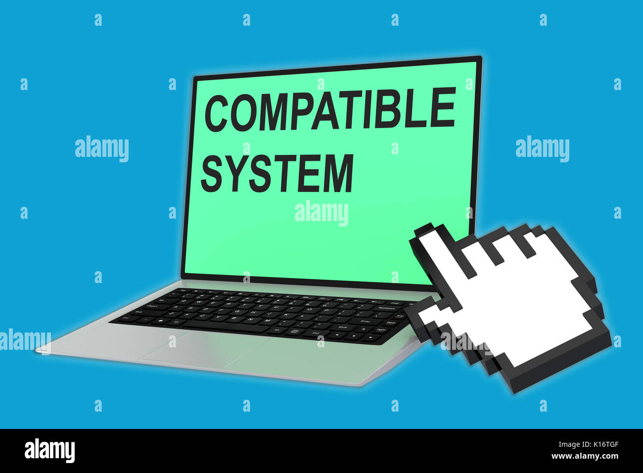 3D illustration of 'COMPATIBLE SYSTEM' script with pointing hand icon pointing at the laptop screen - Stock Image