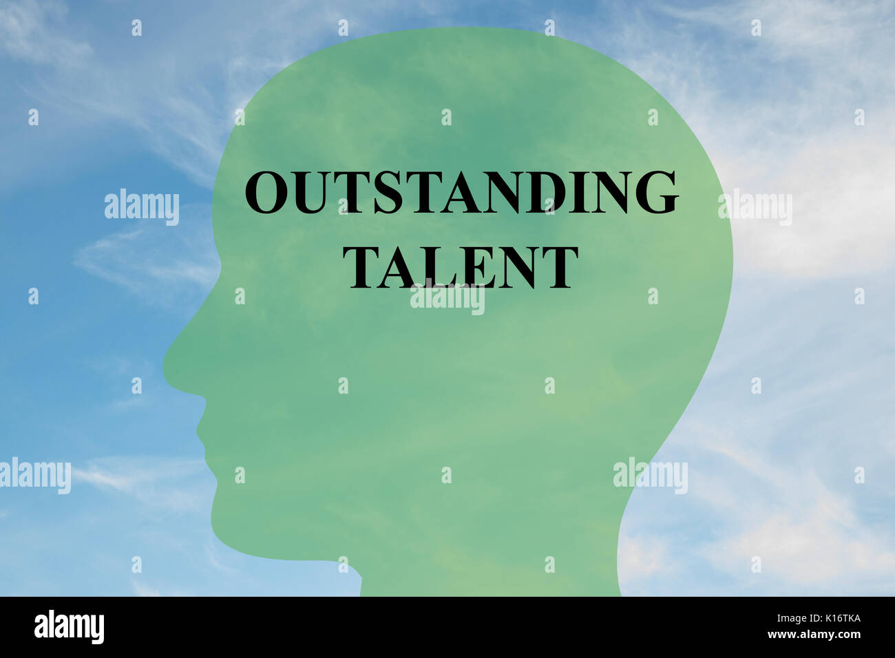 Render illustration of 'OUTSTANDING TALENT' script on head silhouette, with cloudy sky as a background. - Stock Image
