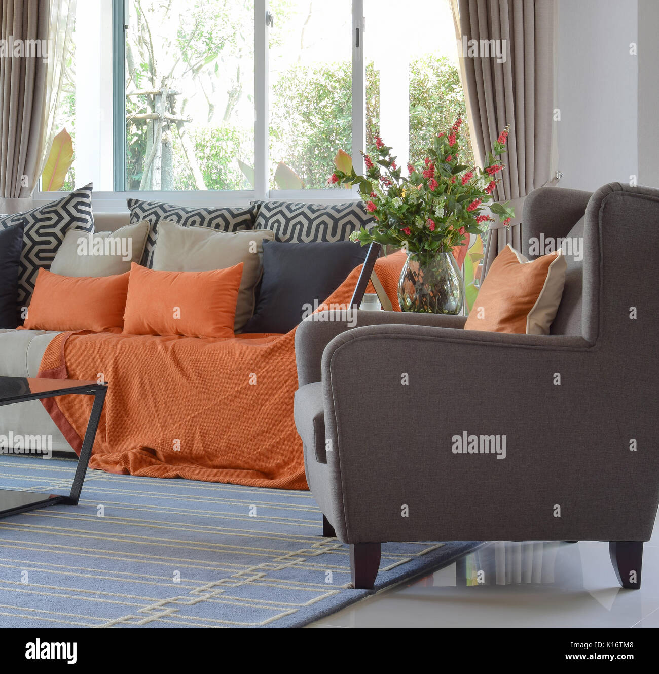 Remarkable Modern Living Room Design With Brown And Orange Tweed Sofa Onthecornerstone Fun Painted Chair Ideas Images Onthecornerstoneorg