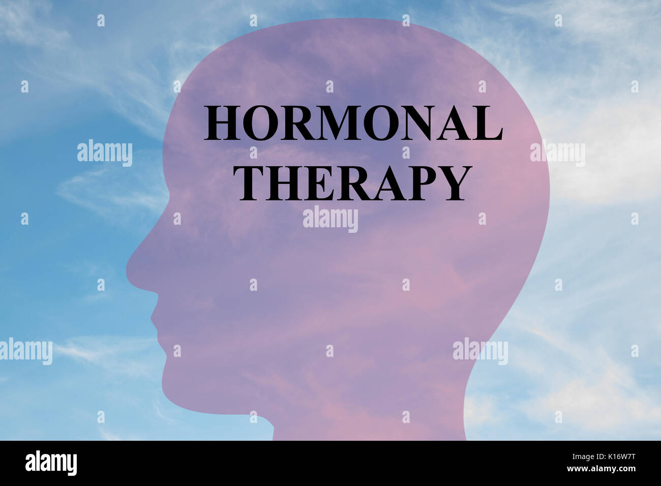 Render illustration of 'HORMONAL THERAPY' title on head silhouette, with cloudy sky as a background. - Stock Image