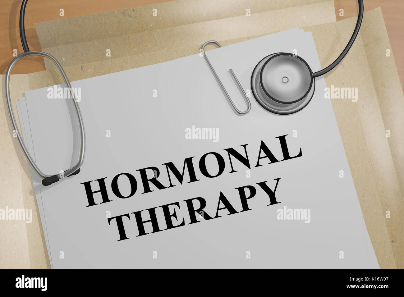 3D illustration of 'HORMONAL THERAPY' title on a medical document - Stock Image