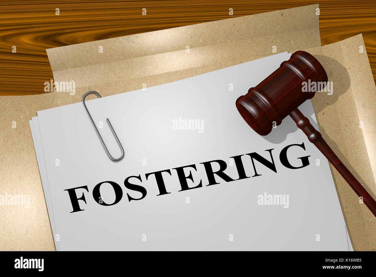 3D illustration of 'FOSTERING' title on legal document - Stock Image