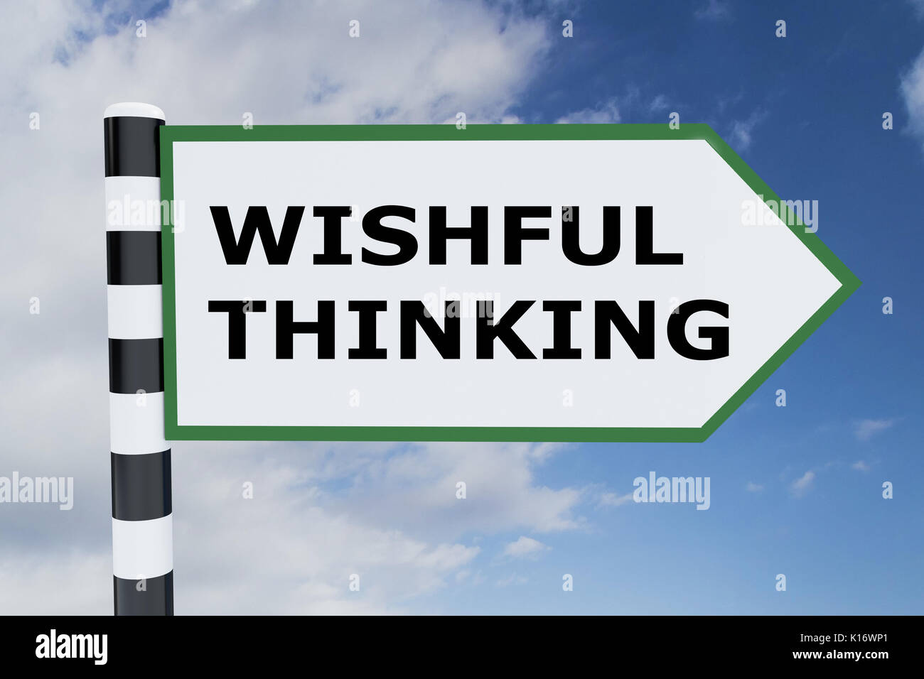 3D illustration of 'WISHFUL THINKING' script on road sign - Stock Image