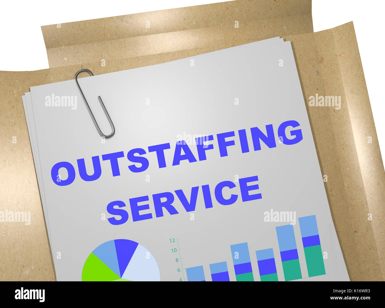 "3D illustration of ""OUTSTAFFING SERVICE"" title on business document Stock Photo"