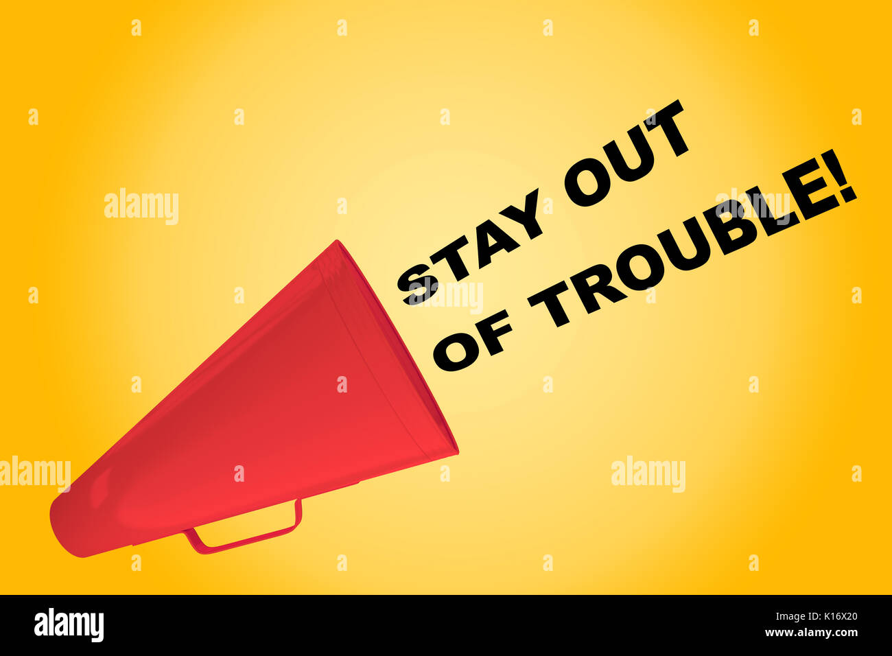 3D illustration of 'STAY OUT OF TROUBLE!' title flowing from a loudspeaker - Stock Image
