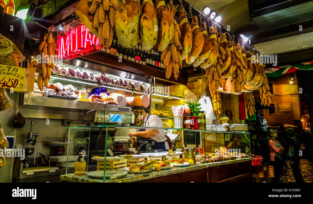 An Italian Salumeria or neighborhood deli at the Piazza della Rotonda in Rome, Italy - Stock Image