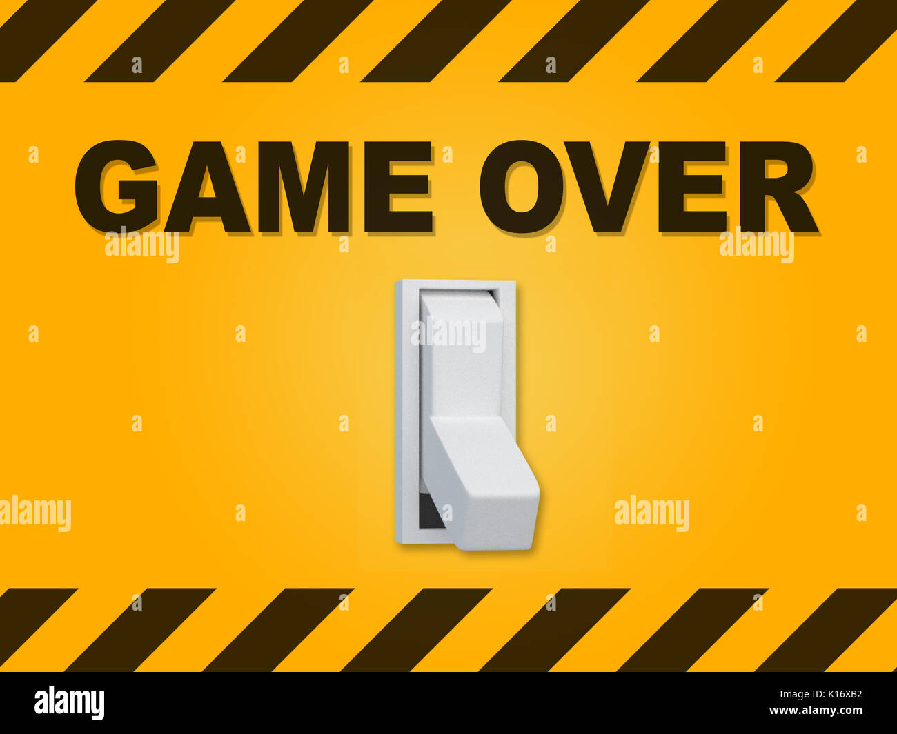 3D illustration of 'GAME OVER' title above an electric switch on yellow wall - Stock Image