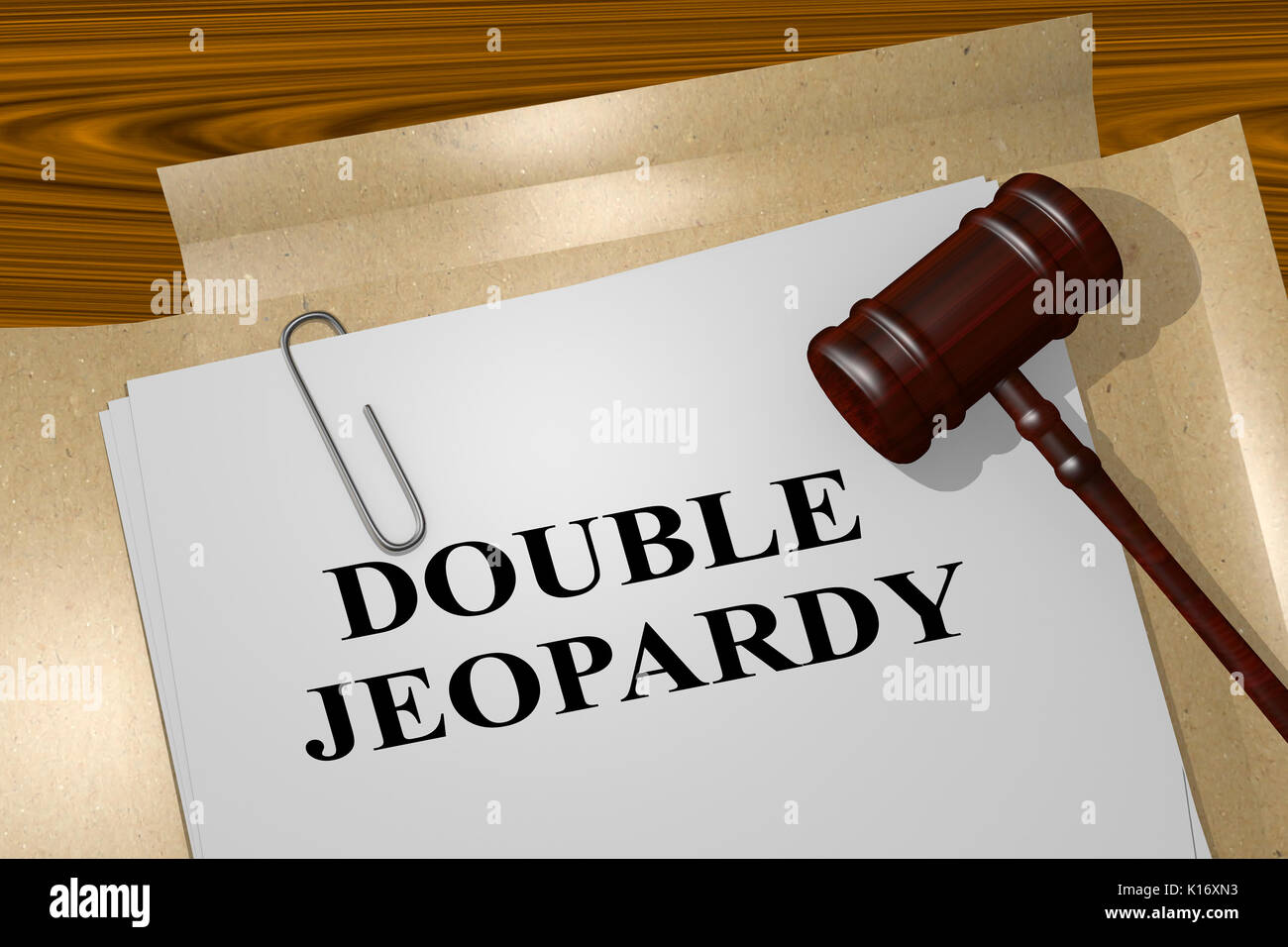 3D illustration of 'DOUBLE JEOPARDY' title on legal document - Stock Image