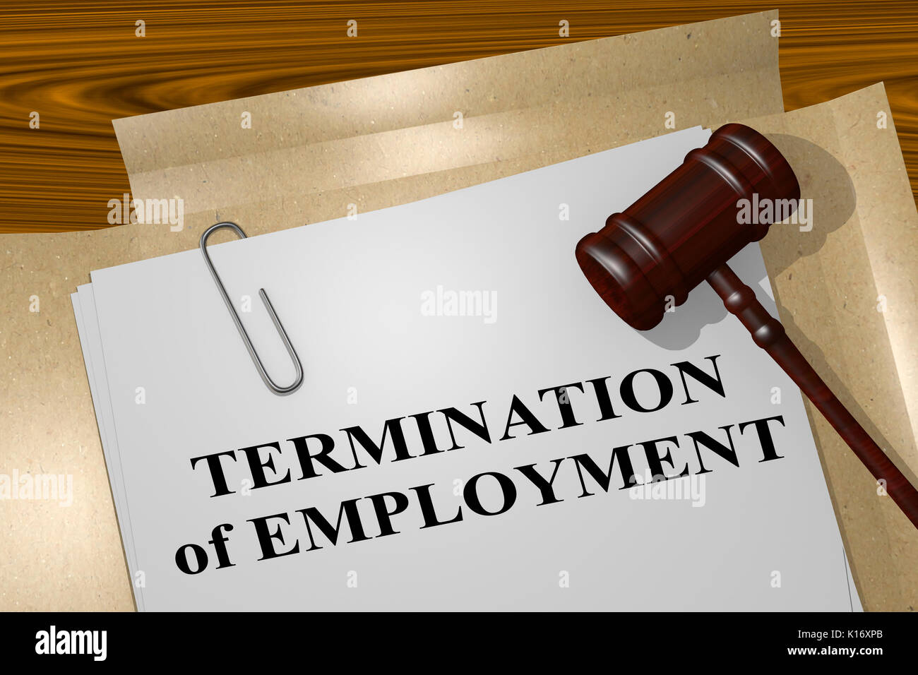 3D illustration of 'TERMINATION of EMPLOYMENT' title on legal document - Stock Image