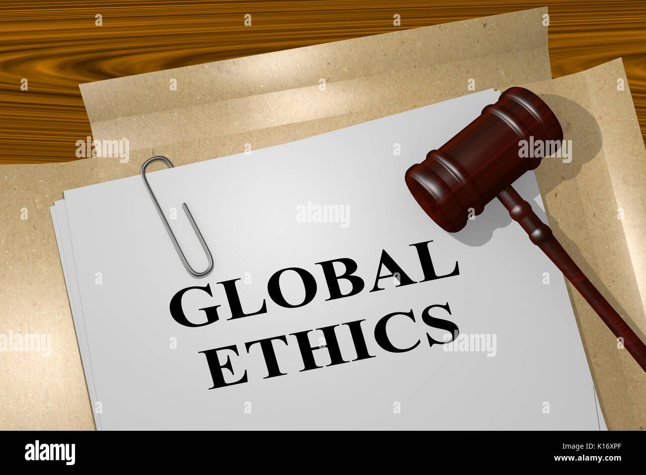 3D illustration of 'GLOBAL ETHICS' title on legal document - Stock Image