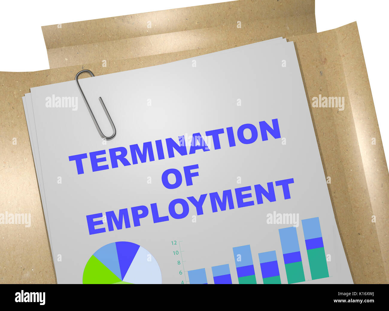 3D illustration of 'TERMINATION OF EMPLOYMENT' title on business document - Stock Image