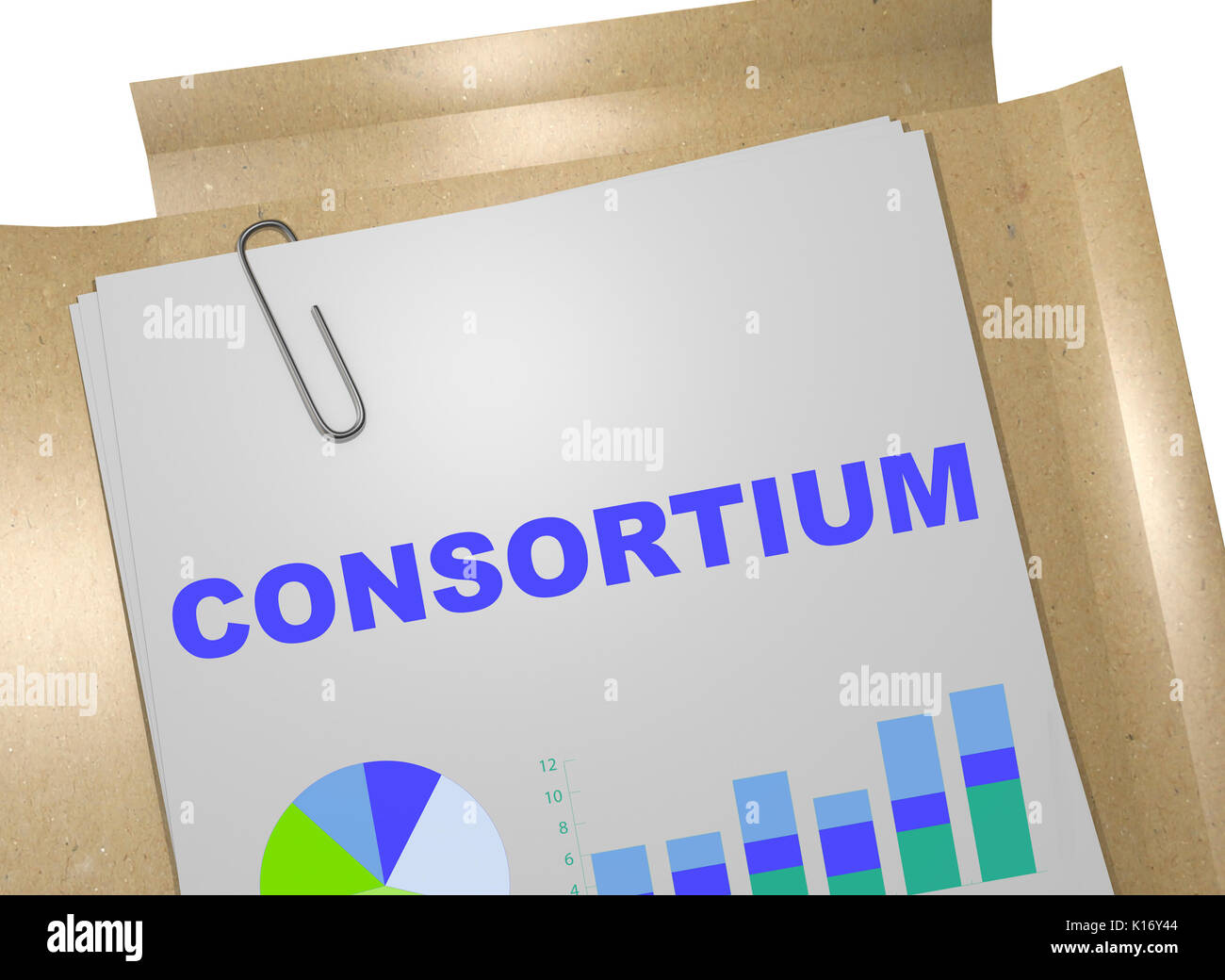 3D illustration of 'CONSORTIUM' title on business document - Stock Image