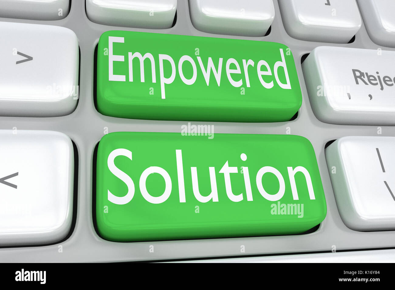 "3D illustration of computer keyboard with the print ""Empowered Solution"" on two adjacent green buttons Stock Photo"