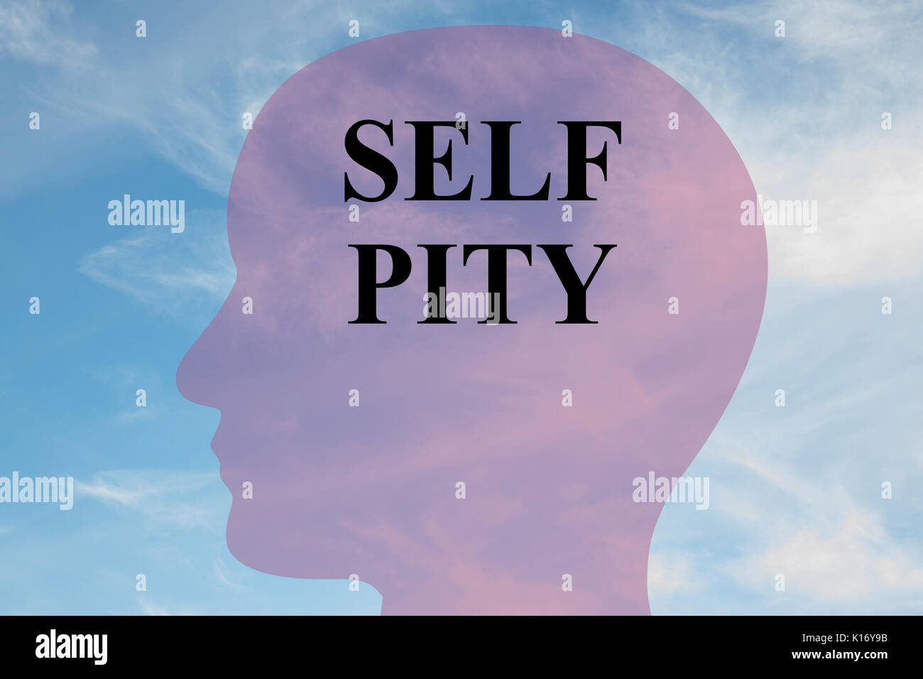 Render illustration of 'SELF PITY' title on head silhouette, with cloudy sky as a background. - Stock Image