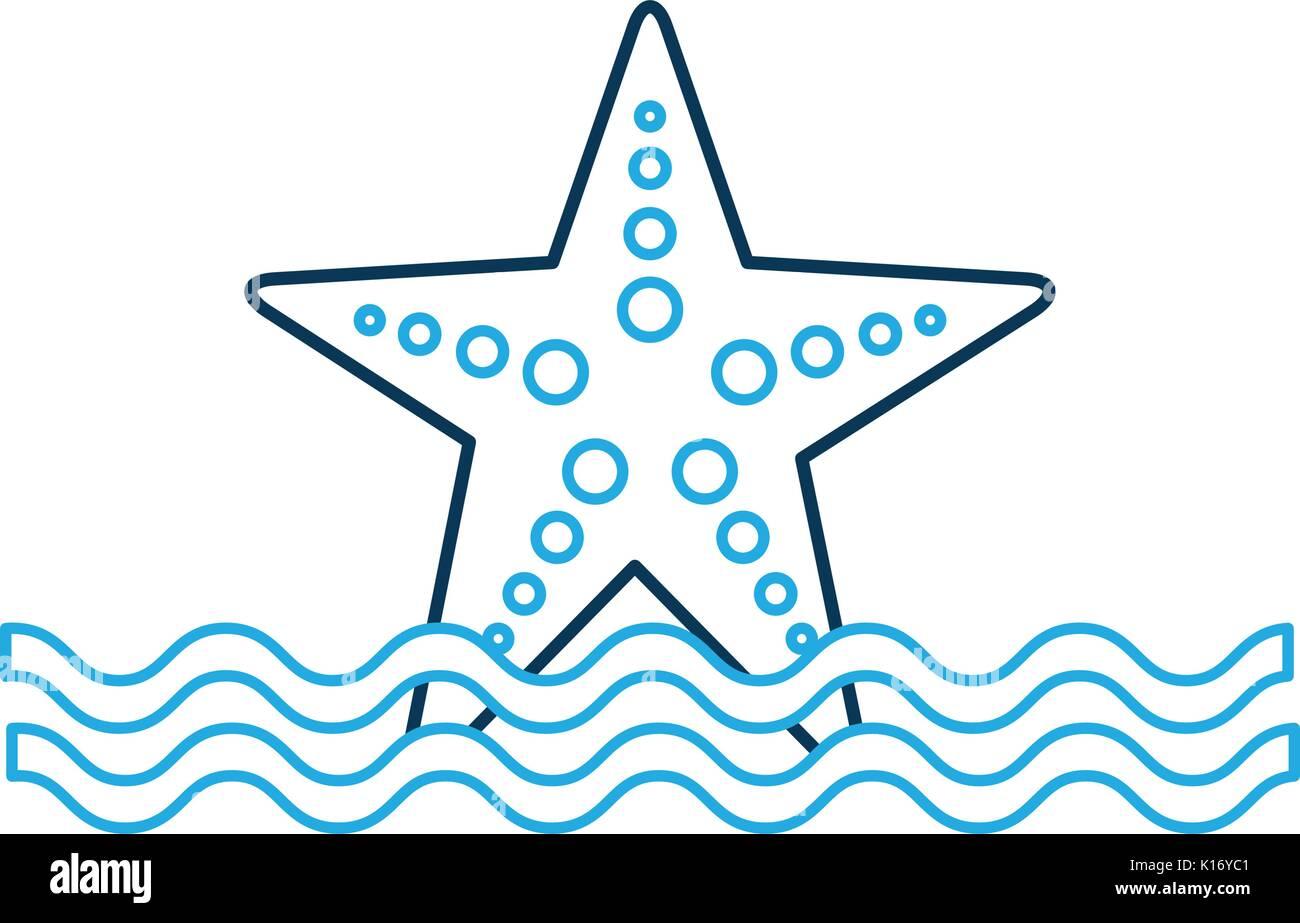 starfish sea life with waves - Stock Image