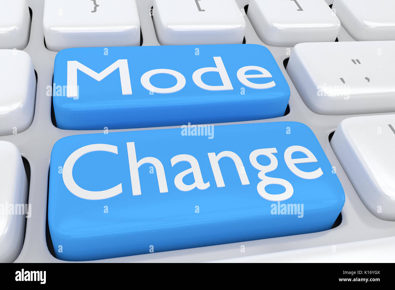 3D illustration of computer keyboard with the script 'Mode Change' on two adjacent pale blue buttons - Stock Image