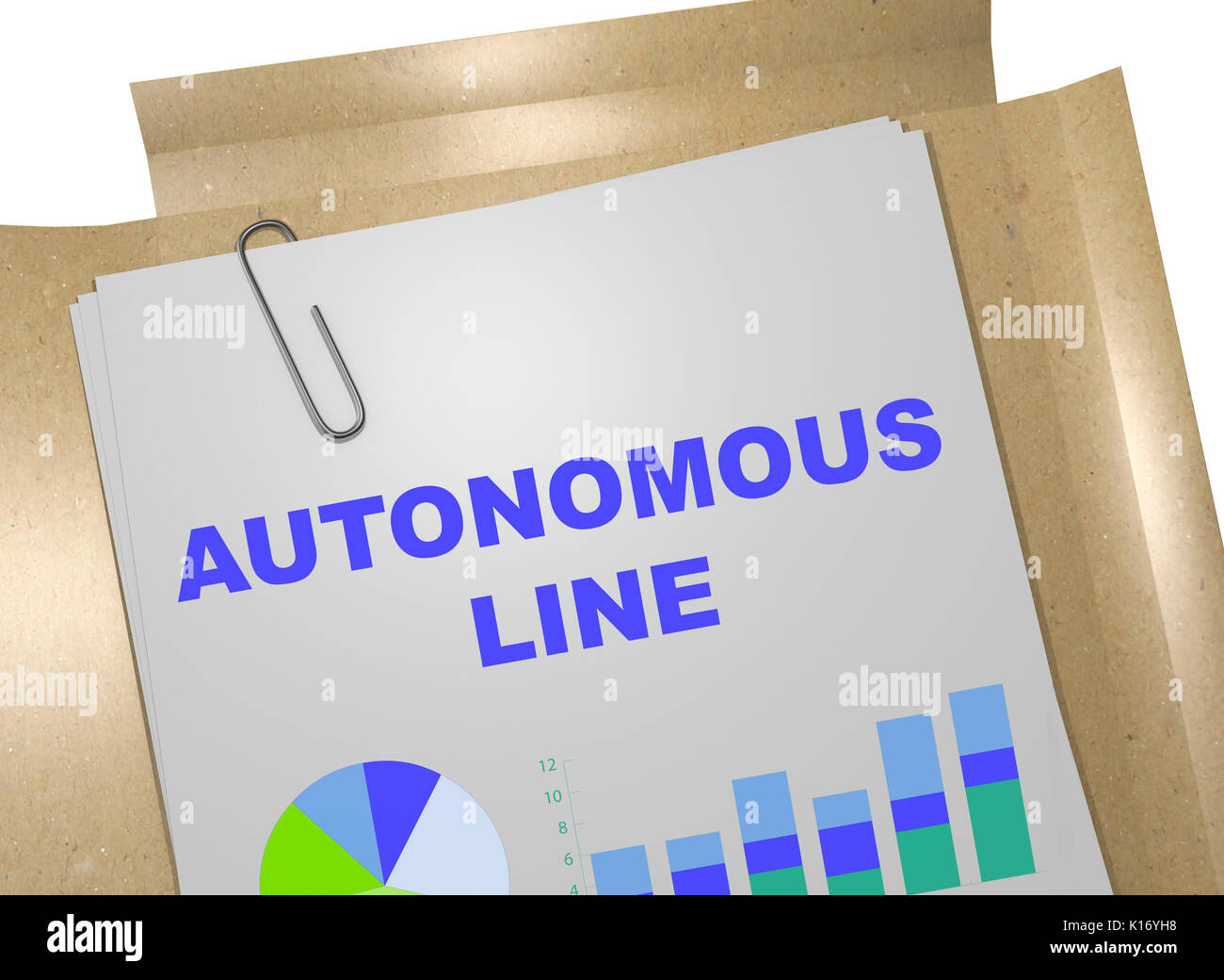 3D illustration of 'AUTONOMOUS LINE' title on business document - Stock Image