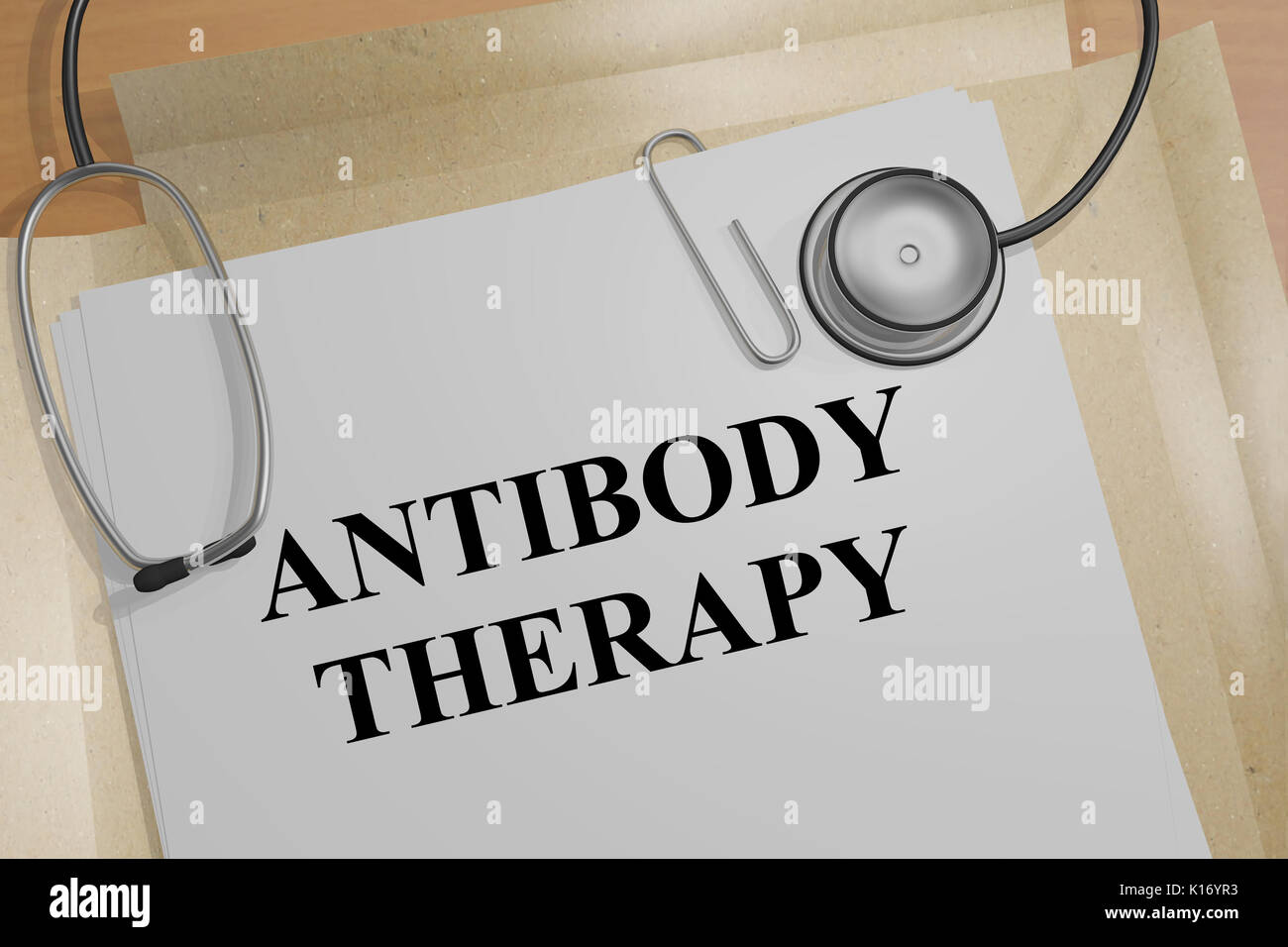 3D illustration of 'ANTIBODY THERAPY' title on a document - Stock Image