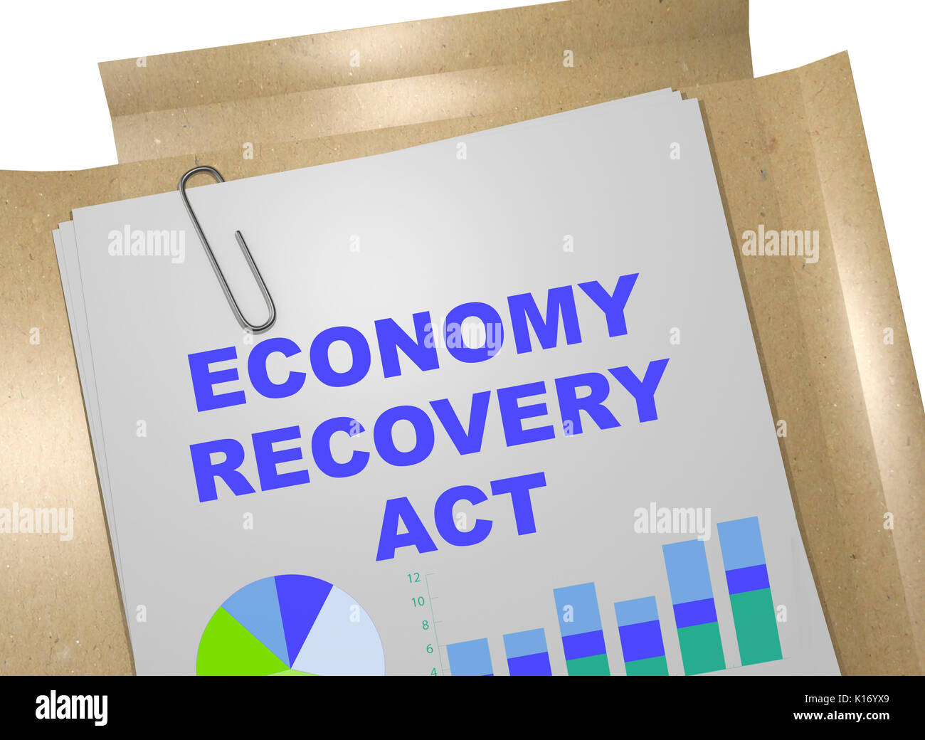3D illustration of 'ECONOMY RECOVERY ACT' title on business document - Stock Image