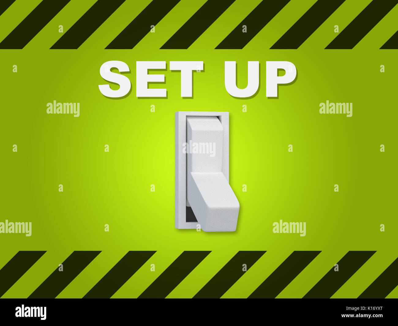 3D illustration of 'SET UP' title above an electric switch on green wall - Stock Image