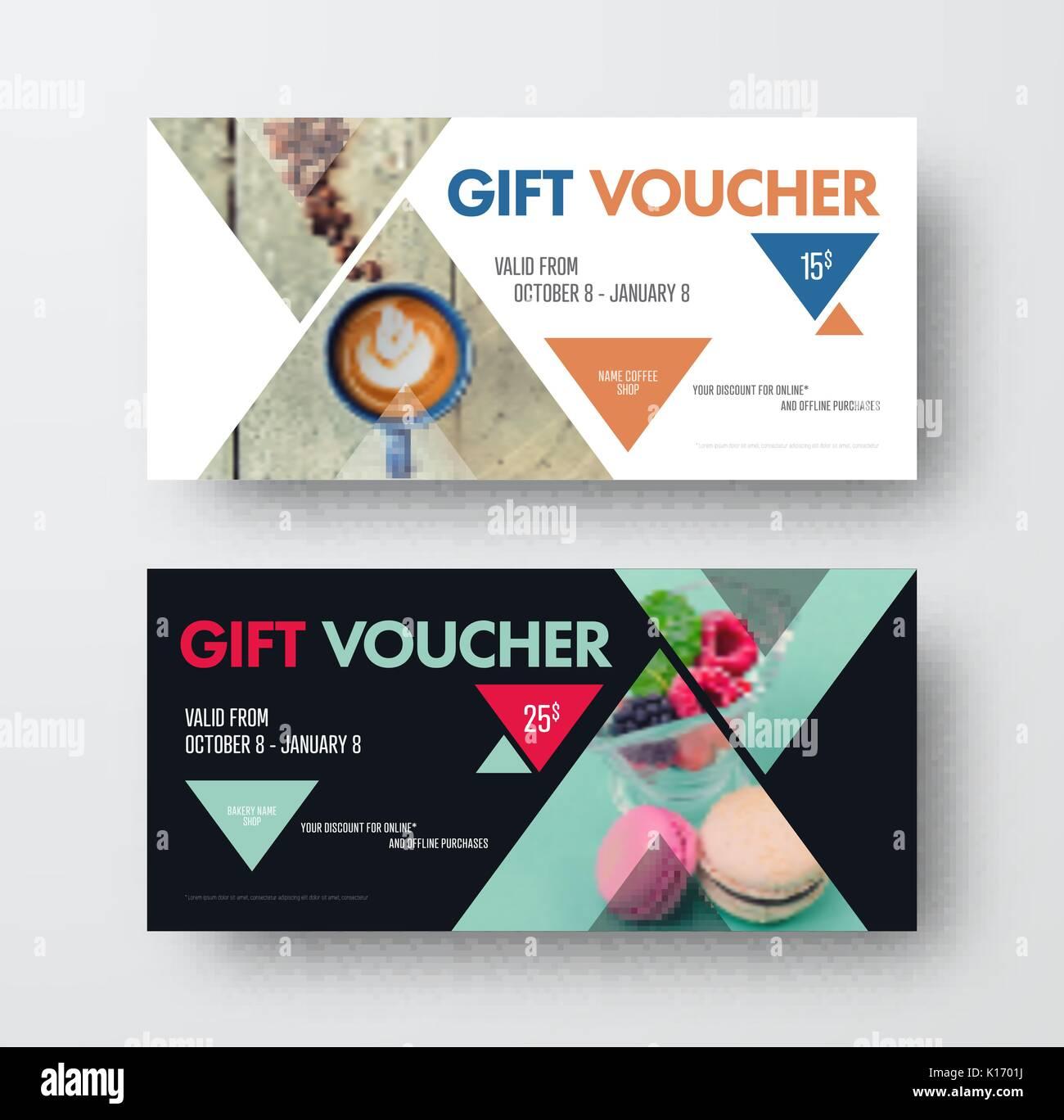vector design gift black and white voucher with triangular elements