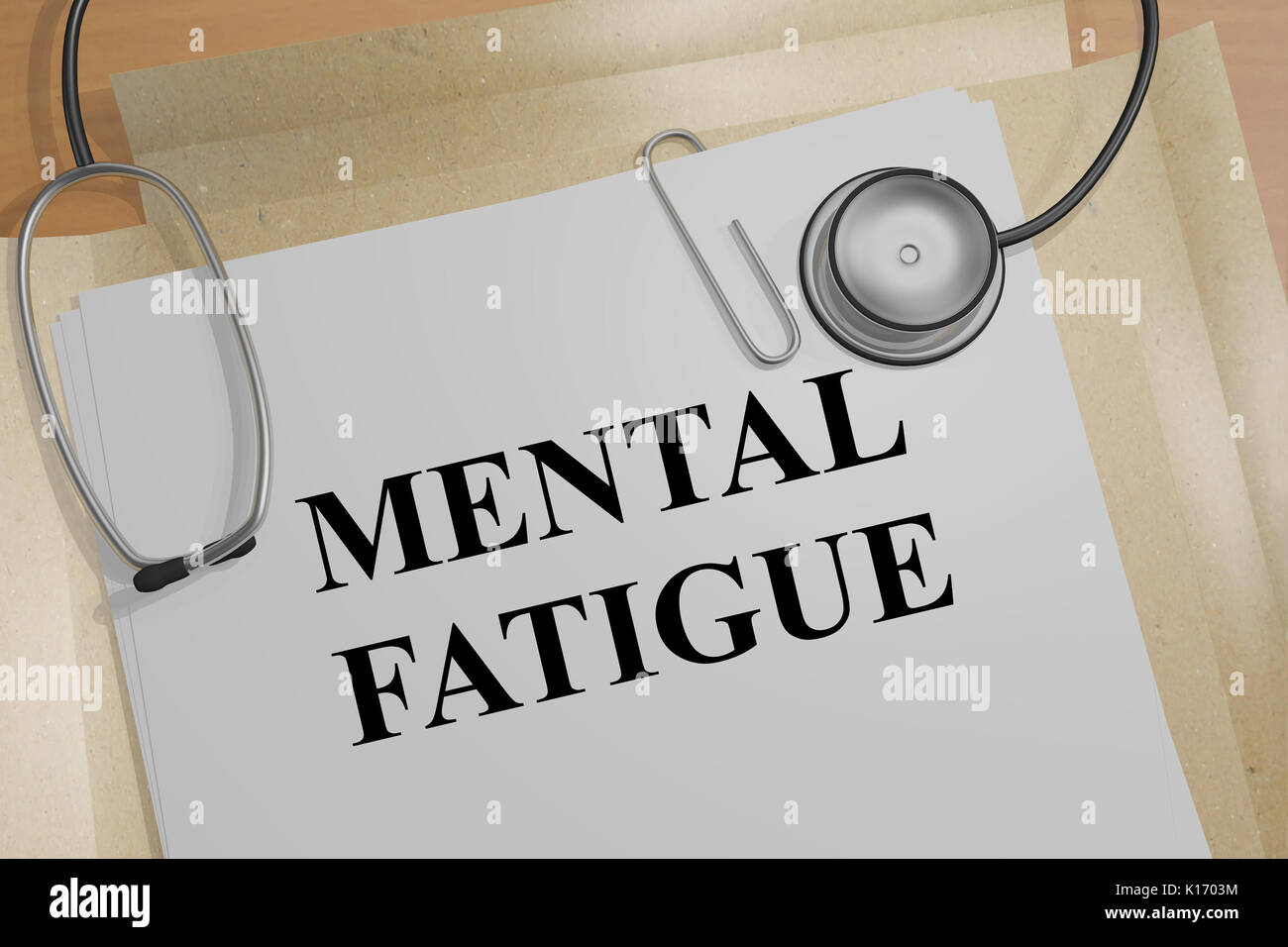 3D illustration of 'MENTAL FATIGUE' title on a document - Stock Image