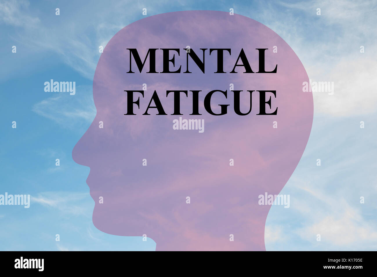 Render illustration of 'MENTAL FATIGUE' title on head silhouette, with cloudy sky as a background. - Stock Image