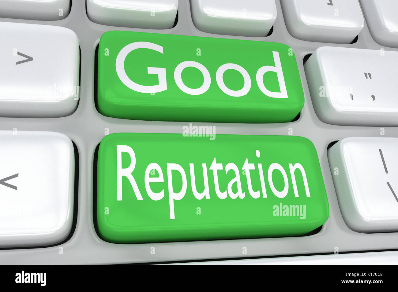 3D illustration of computer keyboard with the print 'Good Reputation' on two adjacent green buttons - Stock Image