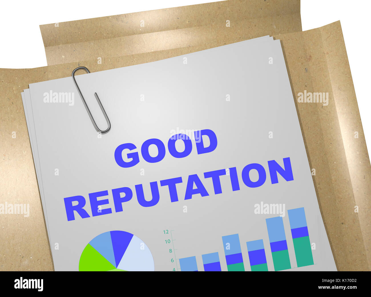 3D illustration of 'GOOD REPUTATION' title on business document - Stock Image