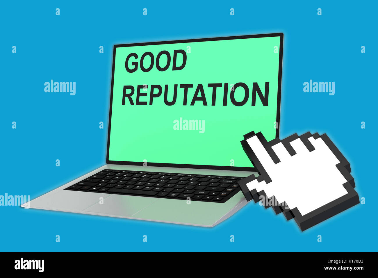 3D illustration of 'GOOD REPUTATION' script with pointing hand icon pointing at the laptop screen - Stock Image