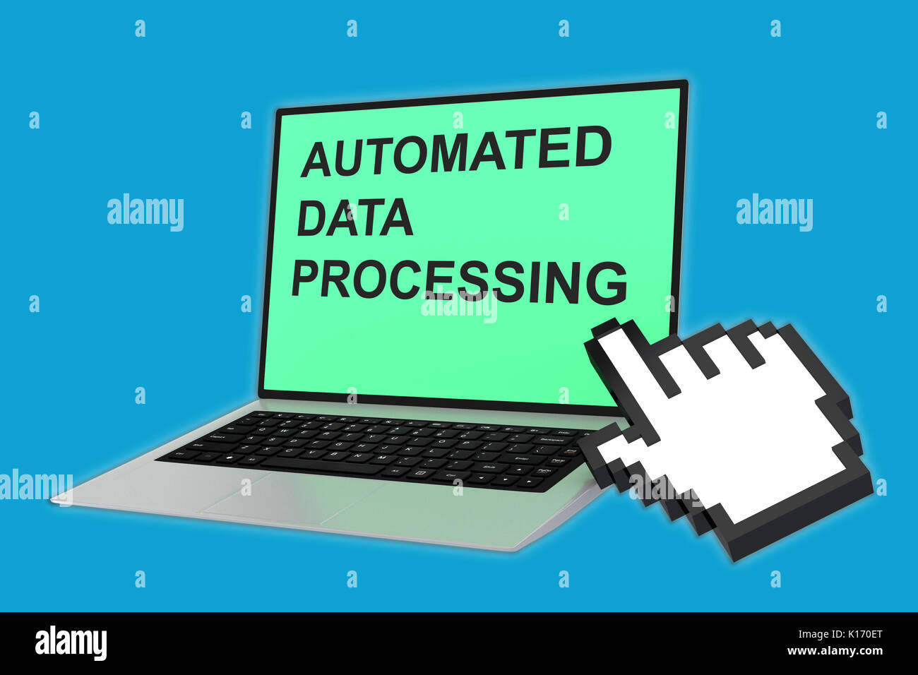 3D illustration of AUTOMATED DATA PROCESSING script with