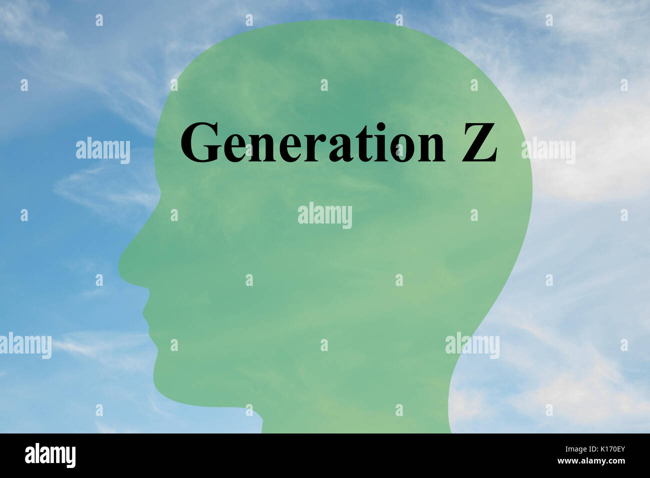 Render illustration of 'Generation Z' script on head silhouette, with cloudy sky as a background. - Stock Image