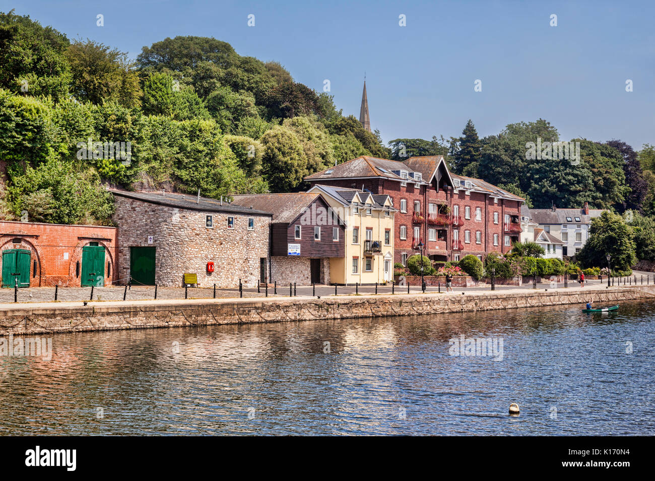 21 June 2017: Exeter, Devon, England, UK - A view along the River Exe to some of the attractions on Exeter Quays. - Stock Image