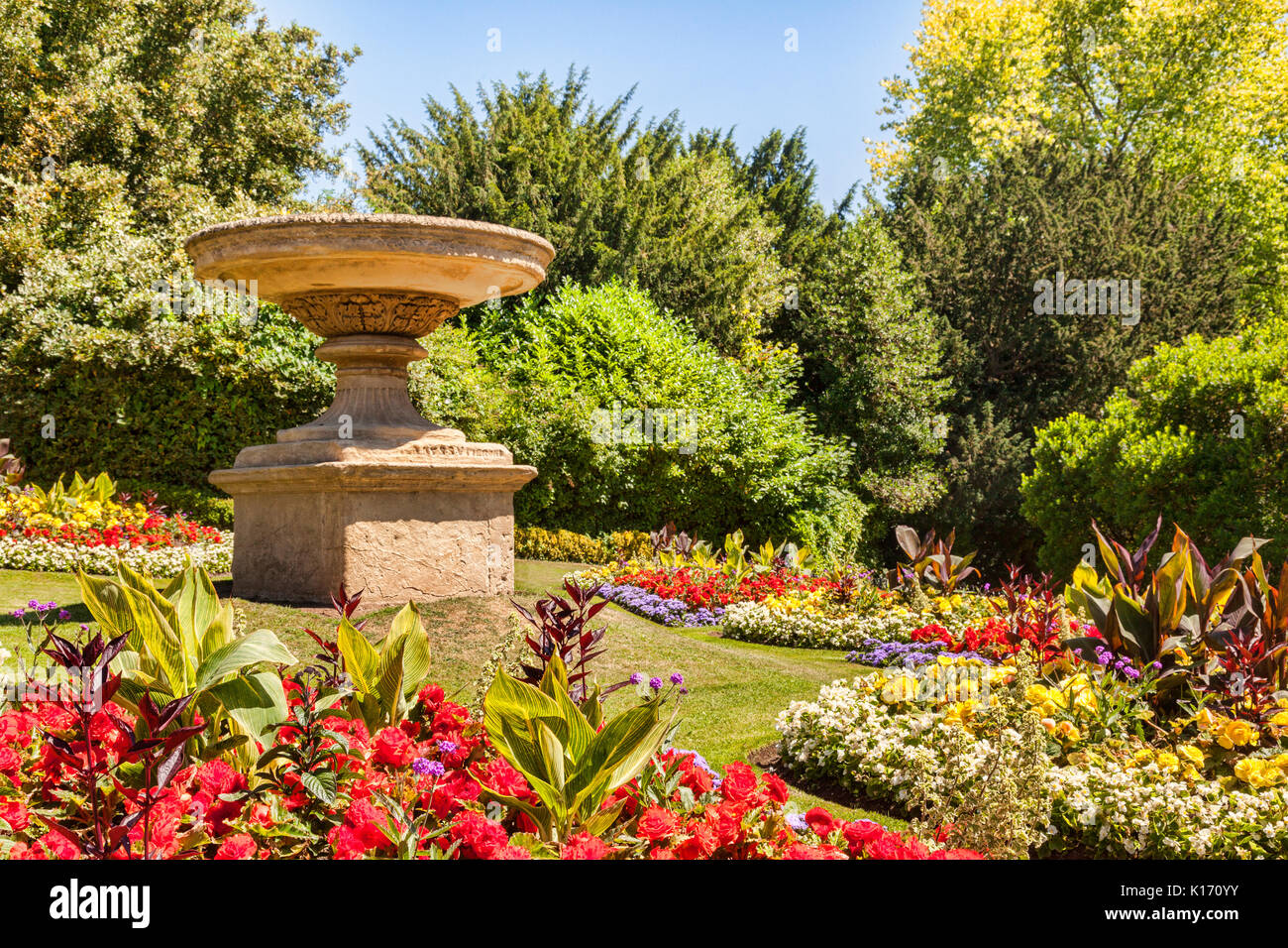 Flower beds filled with annuals in public gardens in Bath, Somerset, Englanmd, UK - Stock Image