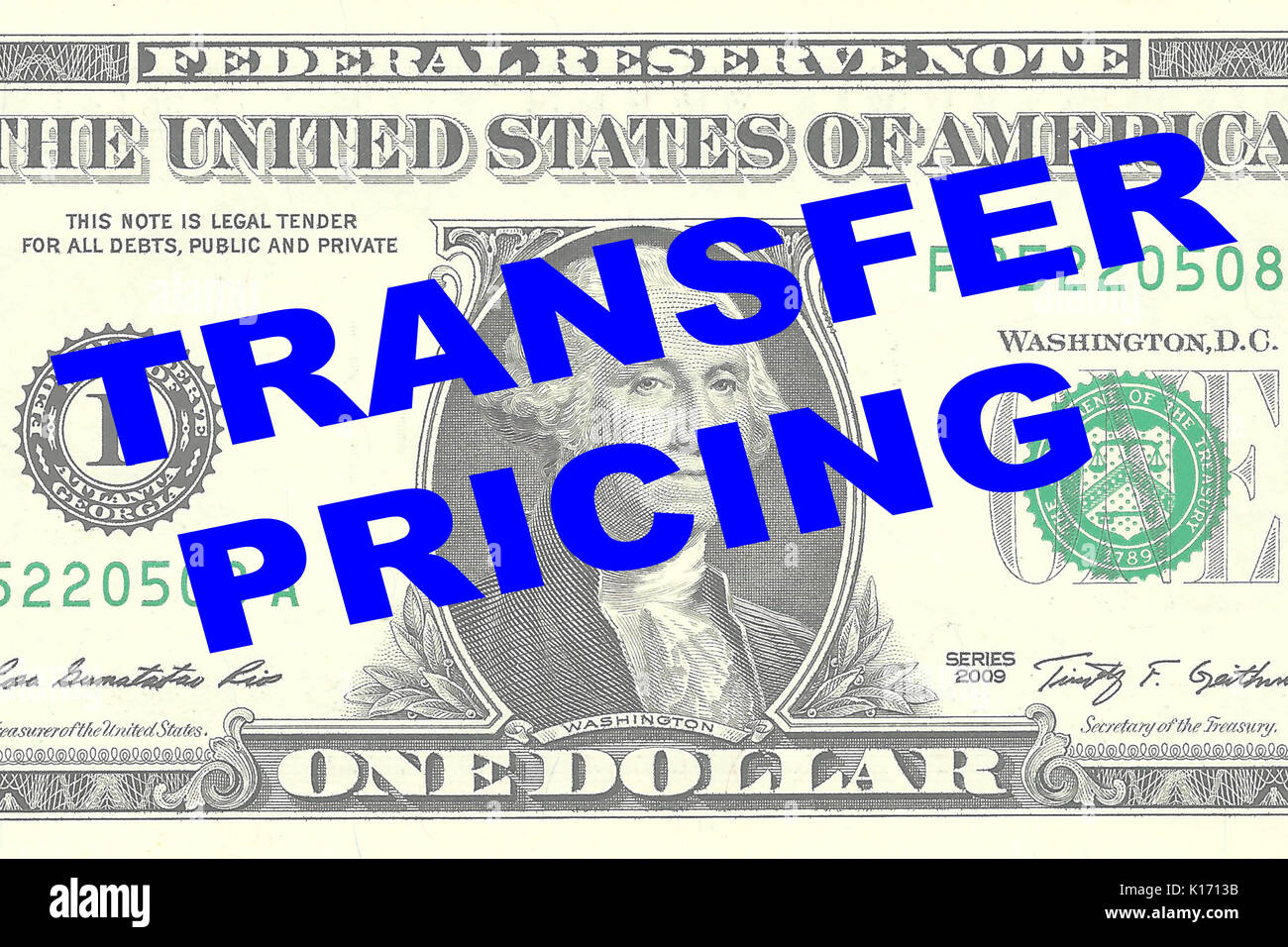 Render illustration of 'TRANSFER PRICING' title on One Dollar bill as a background - Stock Image