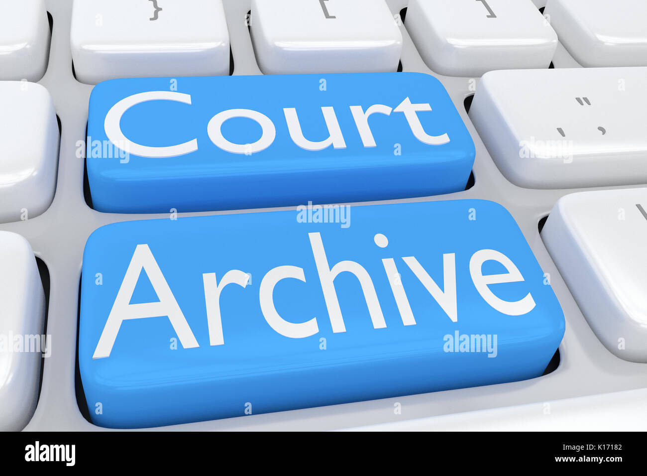 3D illustration of computer keyboard with the script 'Court Archive' on two adjacent pale blue buttons - Stock Image