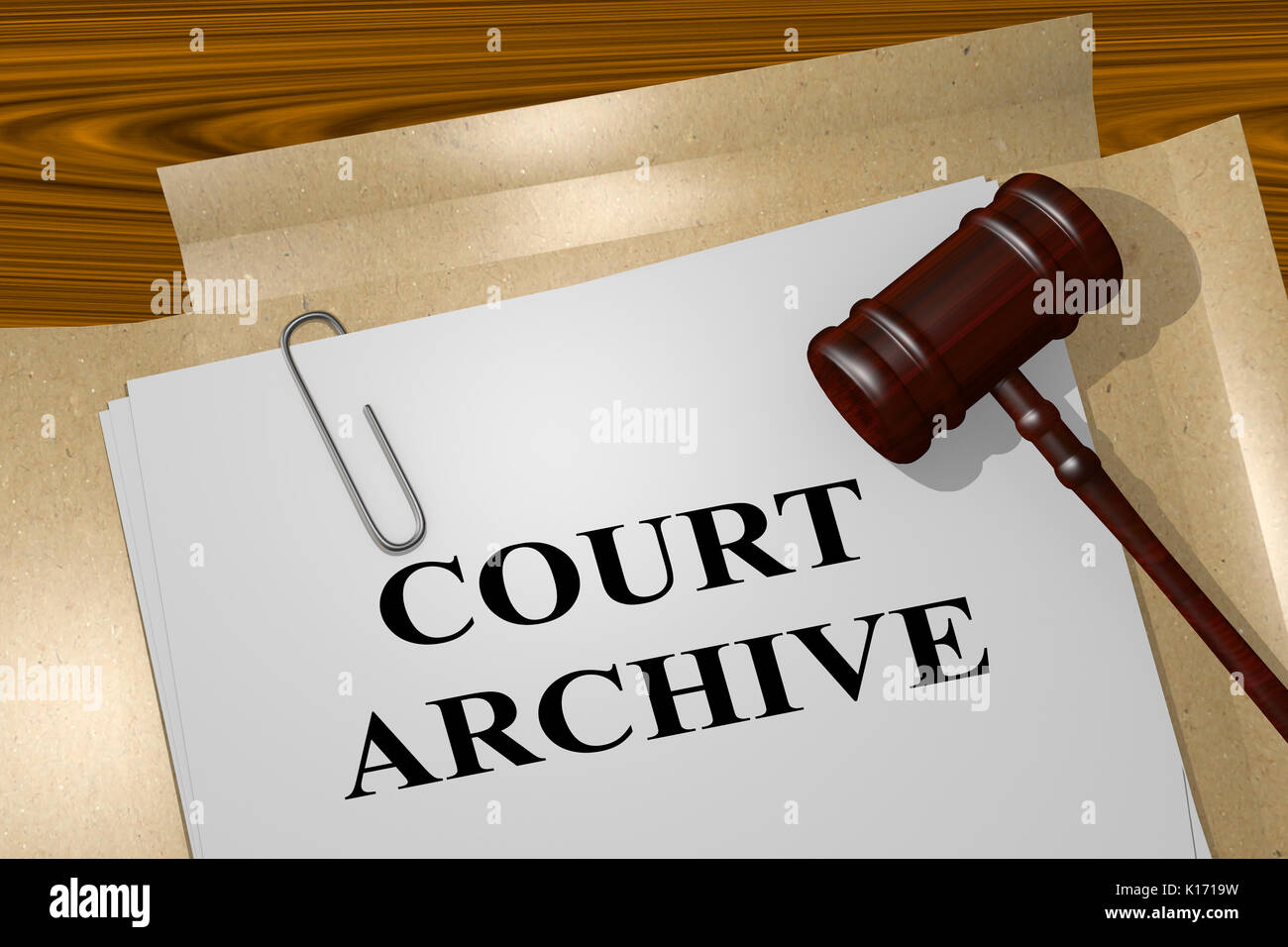 3D illustration of 'COURT ARCHIVE' title on legal document - Stock Image
