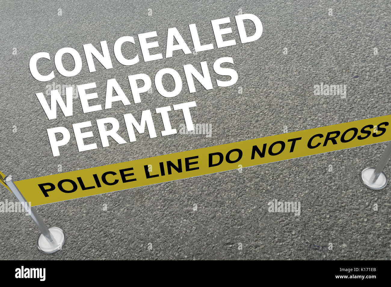 3D illustration of 'CONCEALED WEAPONS PERMIT' title on the ground in a police arena - Stock Image