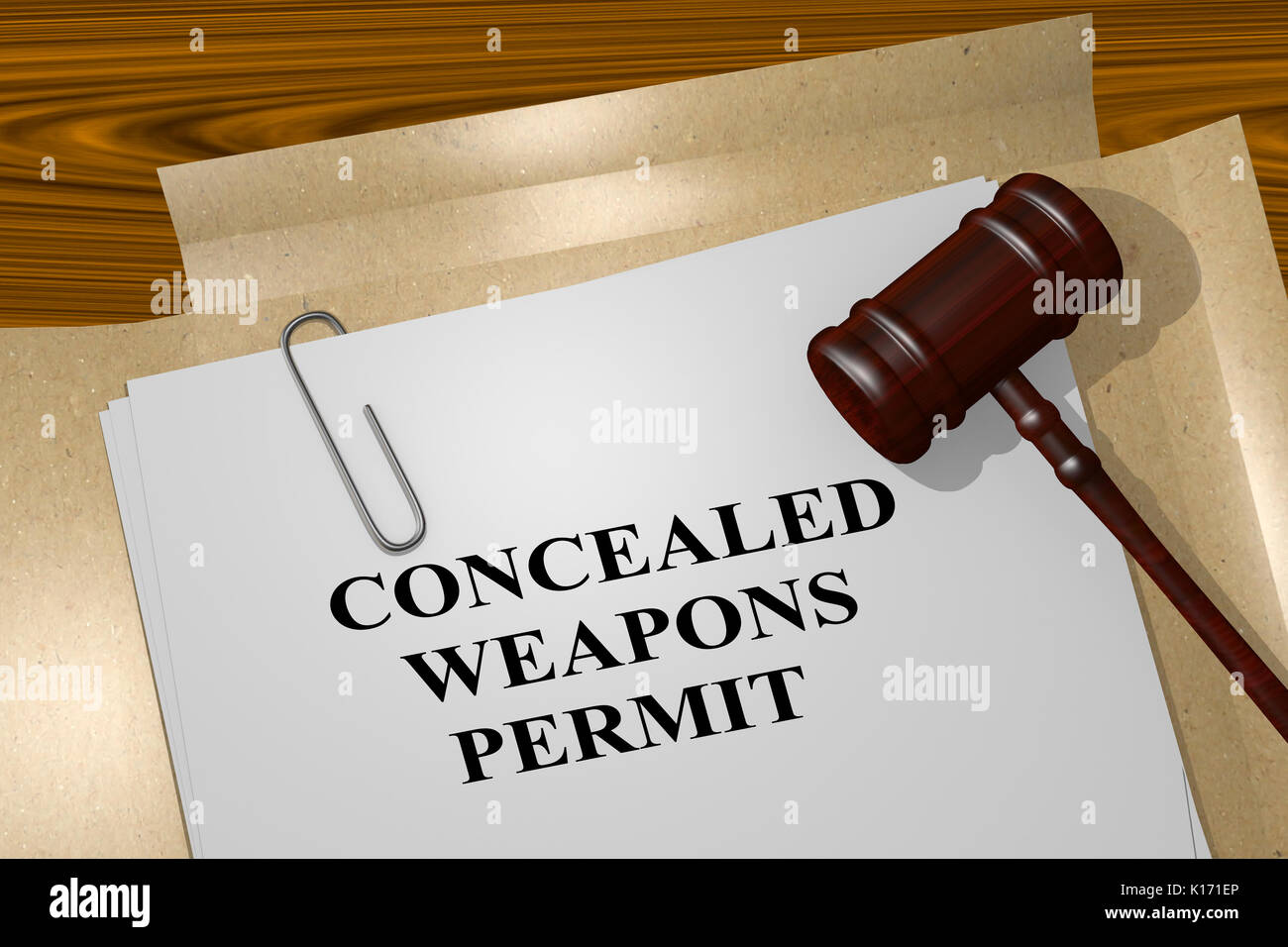3D illustration of 'CONCEALED WEAPONS PERMIT' title on legal document - Stock Image