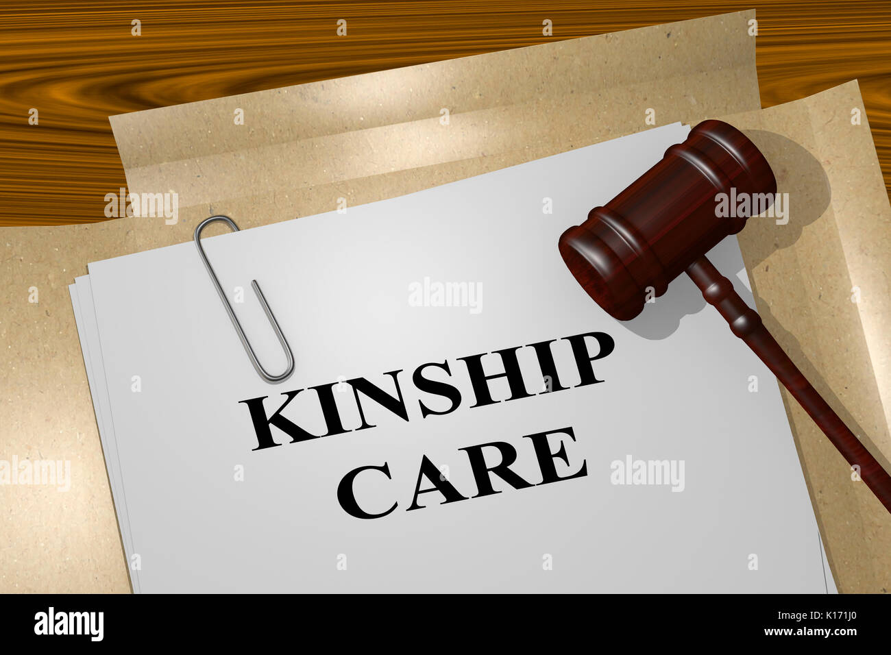 3D illustration of 'KINSHIP CARE' title on legal document - Stock Image