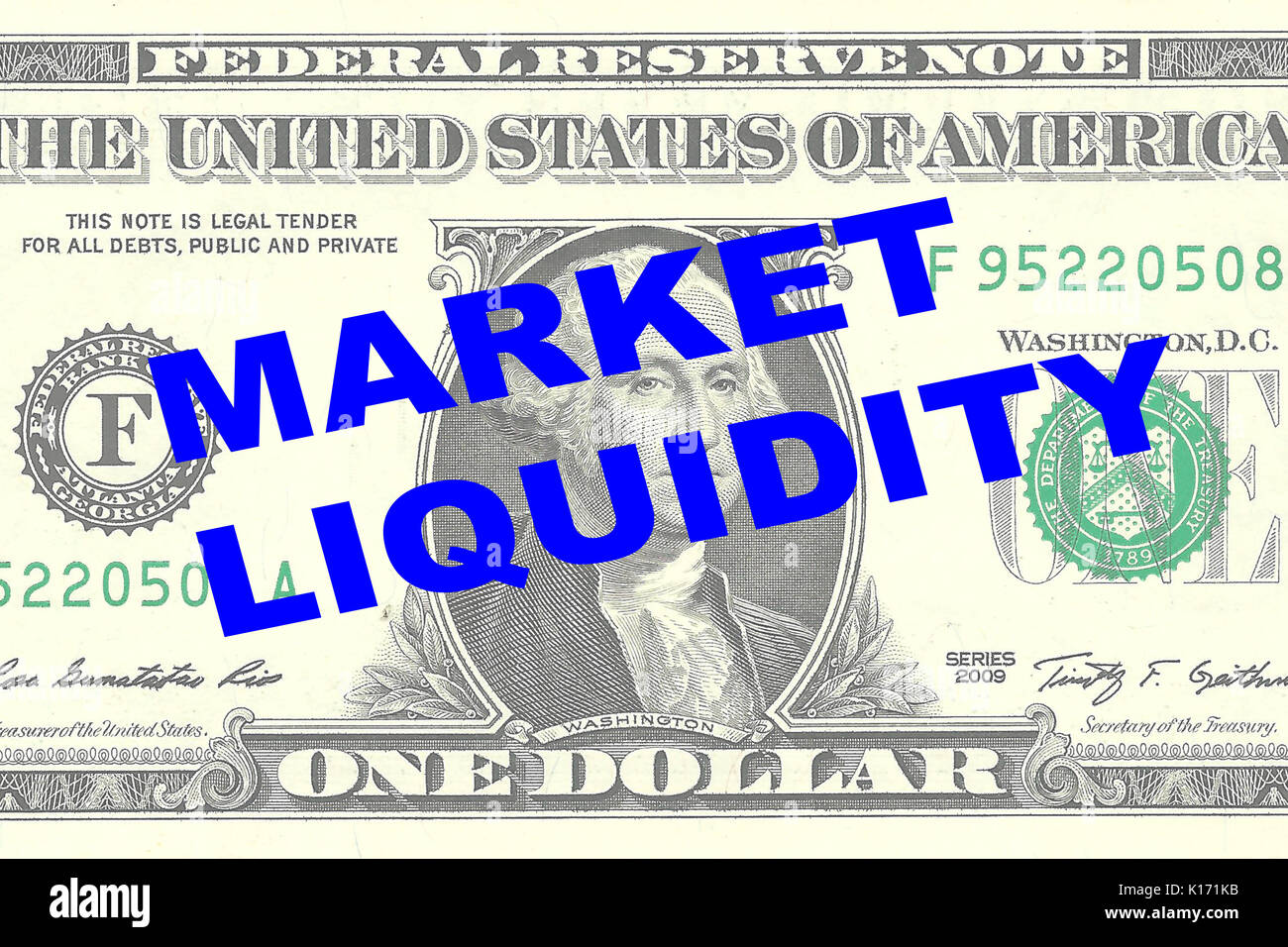 Render illustration of 'MARKET LIQUIDITY' title on One Dollar bill as a background - Stock Image