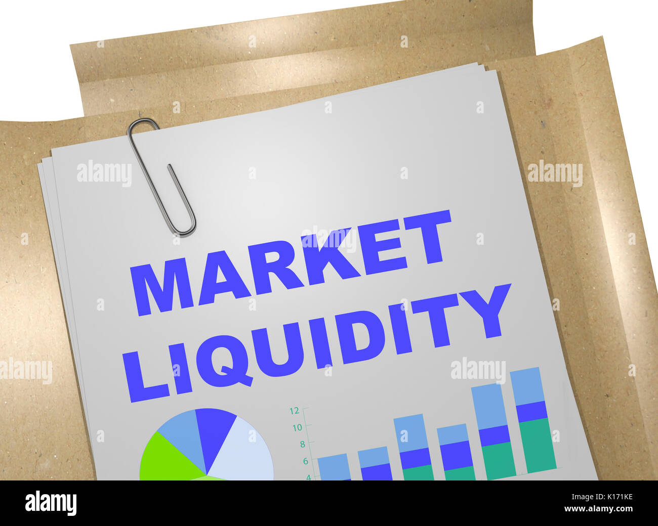 3D illustration of 'MARKET LIQUIDITY' title on business document - Stock Image