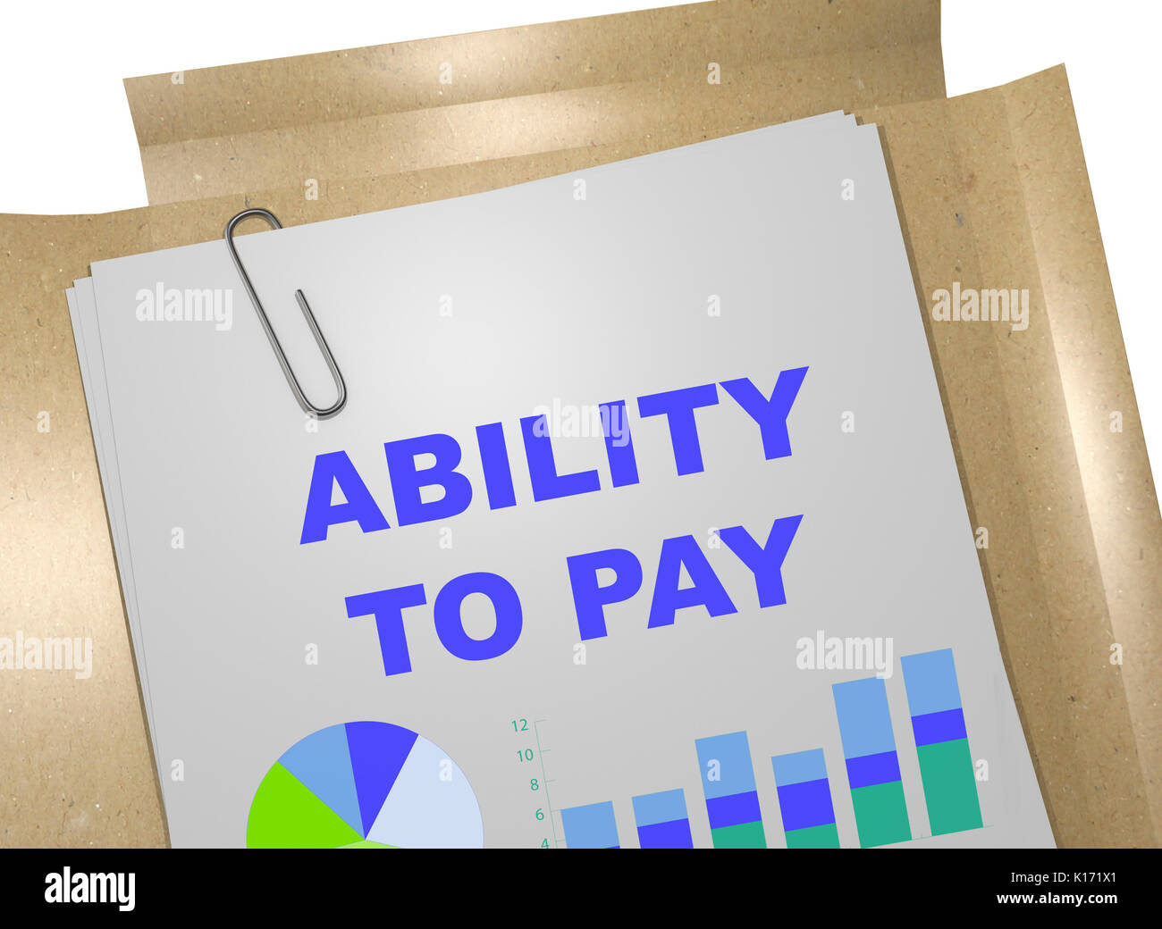 """3D illustration of """"ABILITY TO PAY"""" title on business document Stock Photo"""
