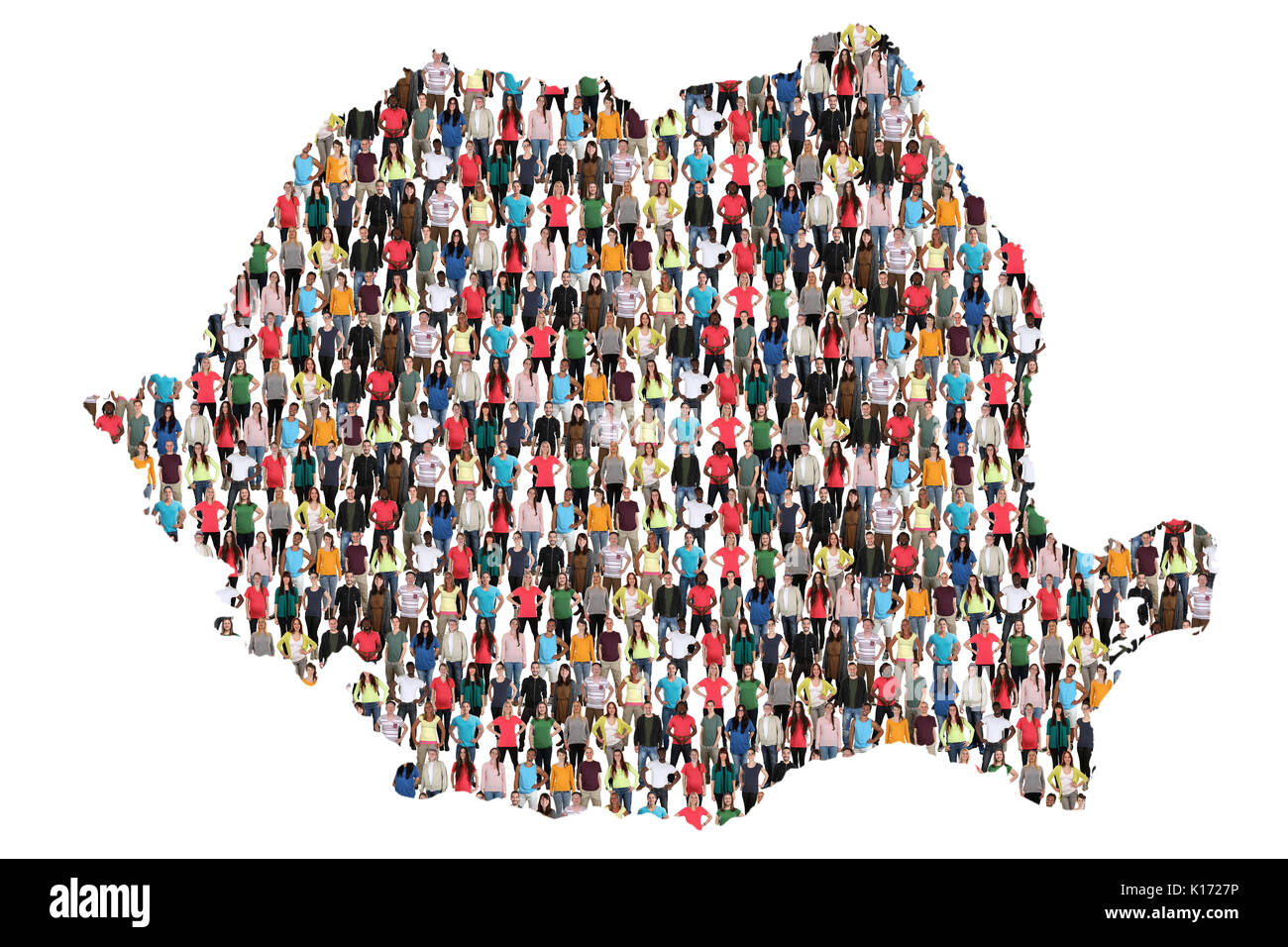 Romania map multicultural group of people integration immigration diversity isolated - Stock Image