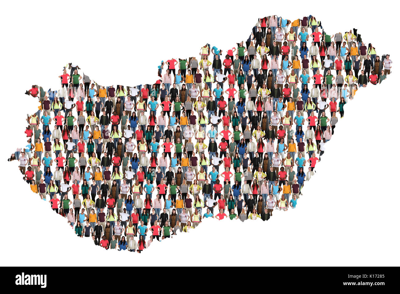 Hungary map multicultural group of people integration immigration diversity isolated - Stock Image