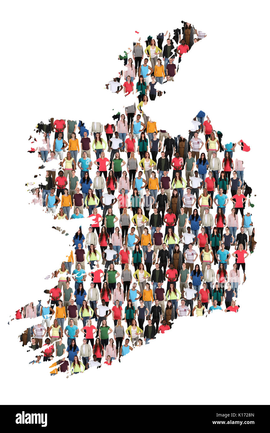 Ireland map multicultural group of people integration immigration diversity isolated - Stock Image