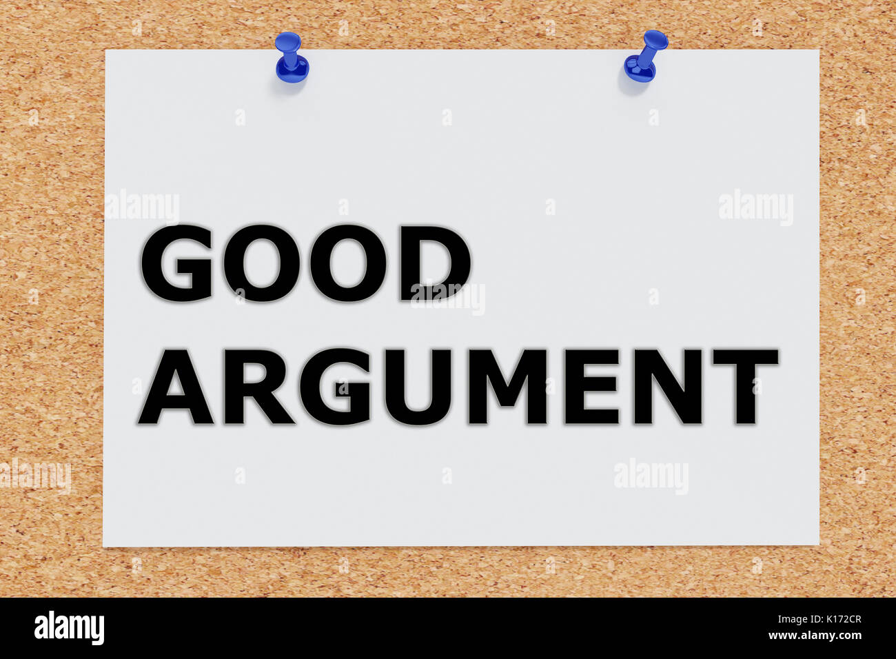 "3D illustration of ""GOOD ARGUMENT"" on cork board Stock Photo"
